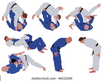 Over ten man silhouettes during judo competition. Vector color illustration.