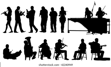 Over ten vector silhouettes of performing musicians on white background.