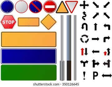 Over three hundred fifty different highly detailed and fully editable vector Traffic-Road Sign Collection.