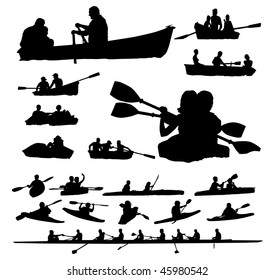 Over twenty peoples vector silhouettes on boats and kayaks.