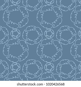 Overall Leaf Contour Line Circular Pattern