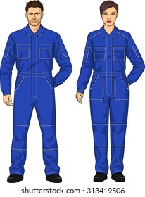 Overalls for the woman and the man with pockets