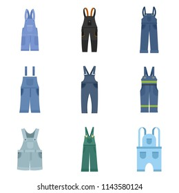 Overalls workwear icons set. Flat illustration of 9 overalls workwear vector icons isolated on white