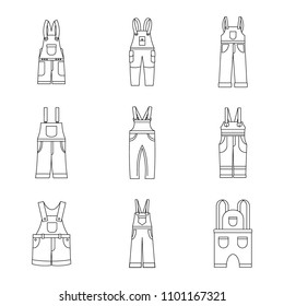 Overalls workwear icons set. Simple illustration of 9 overalls workwear vector icons for web