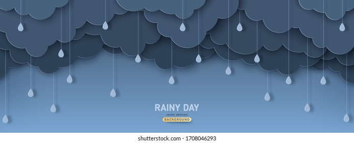 Overcast sky with rain drops in paper cut style. Vector illustration. Rainy day concept with dark clouds.