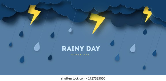 Overcast sky, thunder and lightning in paper cut style. Vector illustration. Rainy day concept with dark clouds.