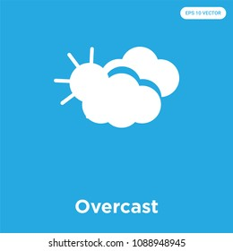 Overcast vector icon isolated on blue background, sign and symbol, overcast vector iconic concept