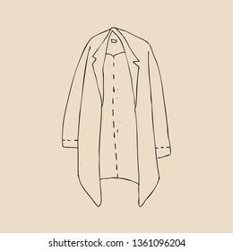 Overcoat, Uniform outline icon, hand drawn overcoat icon