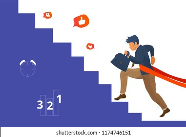 Overcome challenge vector illustration: resilient businessmen with ambitious goals climbing career stairs overcoming obstacles. Resilience achievement concept.