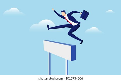 Overcome obstacles and success concept. Businessman holding briefcase jumping over hurdle race obstacle. Cartoon Vector Illustration