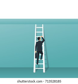 Overcoming concept. Ladder through wall. Business challenge and solution. Obstacle on way. Businessman in suit standing on stairs. Vector illustration flat design. Isolated on background.