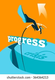 Overcoming the crisis. Progress. Pole vault. Vector illustration