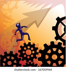 Overcoming obstacle for your goal, vector illustration