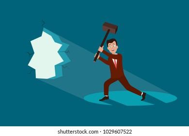 Overcoming obstacles concept. Eps vector illustration of businessman in suit breaking blue wall with hammer.