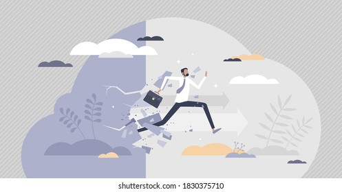 Overcoming obstacles as difficulty or problem in business tiny person concept. Avoiding barriers in challenge and move to target despite boundaries vector illustration. Effort and strength persistence