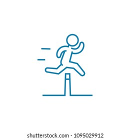 Overcoming obstacles linear icon concept. Overcoming obstacles line vector sign, symbol, illustration.