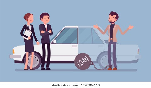 Overdue car loan. Unhappy customer and agents, borrowed money unlikely to be paid back, heavy load to carry a credit, problem and burden of financial crisis. Vector flat style cartoon illustration