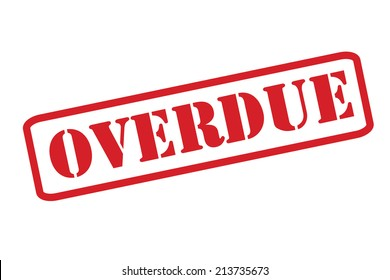 'OVERDUE' red rubber stamp vector over a white background.