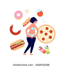 Overeating. Fast food addiction, nutrition problems consequences. Burger and sweets unhealthy dishes. Female overweight, obesity vector concept