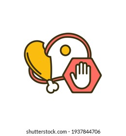 Overeating prevention RGB color icon. Binge eating disorder. Expanding normal portion size. Weight gaining and obesity risk. Unhealthy habits. Expanded stomach. Isolated vector illustration