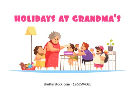 Overeating problems concept with holidays at grandma symbols flat vector illustration