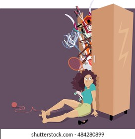Overfilled closet bursting with different things, woman trying to hold the doors closed, EPS 8 vector illustration, no transparencies, copy space left