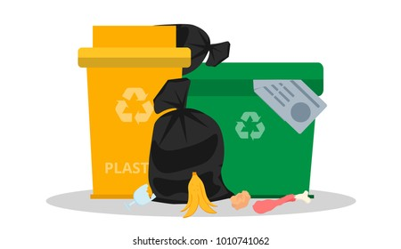 Overflowed garbage cans. Garbage on the ground. Dump. Concept of environmental pollution. Tank for plastic and mixed waste. Waste processing. Trash bags. Garbage recycling and utilization equipment.