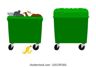 Overflowing and empty garbage bin 4708dd018818
