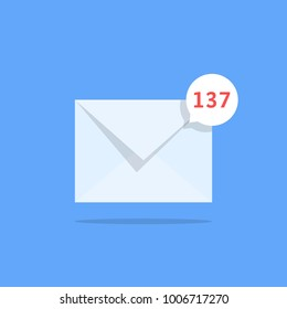 overflowing mailbox like white notification email. trend simple ui logotype graphic design isolated on blue background. concept of online talk or speak by messages or full mail box like correspondence