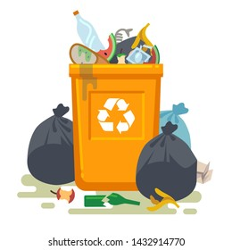 Overflowing trash can. Food garbage in waste bin with nasty smell. Rubbish dump and trash recycling, yellow bags and plastic vector isolated concept