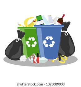 Overflowing trash can. Tank with debris and trash bags. Trash can. Flat design, vector illustration, vector.
