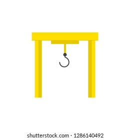 overhead crane colered flat icon. vector design illustration.
