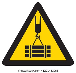 overhead crane hazard triangle warning sign