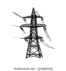 Overhead high voltage transmission line tower. Sketch style drawing isolated on a white background. EPS10 vector illustration