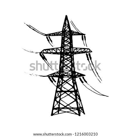 Overhead High Voltage Transmission Line Tower Stock Vector Royalty
