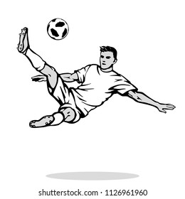 Overhead kick or bicycle kick. Soccer player jumps to shoot the goal. Type of any football character. Isolated template of striker dressed in the blank uniform. Black and white vector illustration.