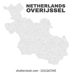 Overijssel Province map designed with small points. Vector abstraction in black color is isolated on a white background. Scattered small points are organized into Overijssel Province map.