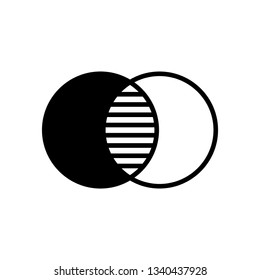 Overlap, overlay, intersection, opacity or transparency icon. Black and white color circles with hatching in an intersect area. Adjustable stroke.