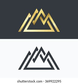 Overlapped line mountains' symbol. Golden and monochromatic vector signs, logotypes.