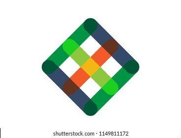 An overlapping abstract shape forming into as square or diamond. Editable Clip Art.
