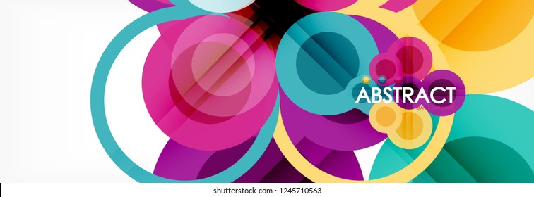 Overlapping circles design background. Trendy abstract layout template for business or technology presentation or web brochure cover, wallpaper. Vector illustration