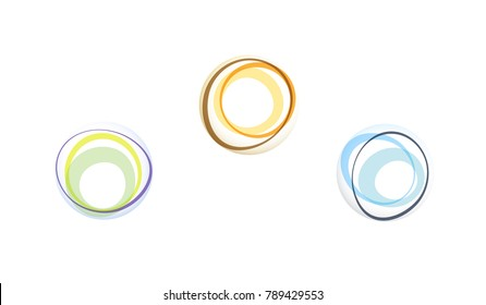 Overlapping circles rings and ovals in an irregular arrangement layered. Abstract shapes together showing unity and diversity concepts.