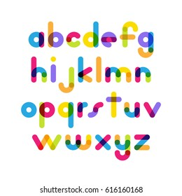 Overlapping colorful rounded flat font. Vector letters althabet on white background