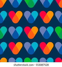 Overlapping colors. Colorful seamless pattern. Bright geometry template