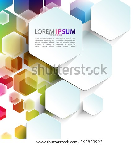 Overlapping Geometric Hexagon Shape Elements Multicolor Stock ...