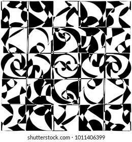 Overlapping hand drawn arrow symbols grid, creating modern, modulat pattern in black and white