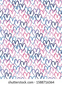 Overlapping Hearts Colorful Seamless print for Holiday, Valentine or Wedding