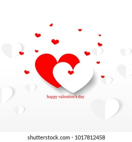Overlapping Hearts for Valentine's Day. Minimalist Creative Design Concept. Stock Vector Illustration. Modern and Abstract Background