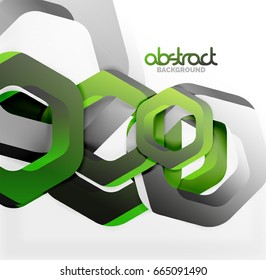 Overlapping hexagons vector design background