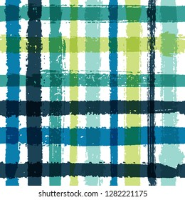 Overlapping lines chequered pattern seamless stripes backdrop. Stylish striped fabric print textile design. Vector intersecting lines cloth pattern. Paint texture rustic crossed stripes graphics.